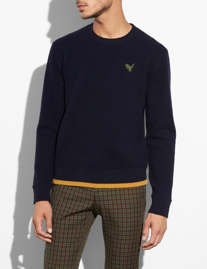 Coach Felted Rexy Patch Sweater Navy Men Ready-to-Wear Apparel