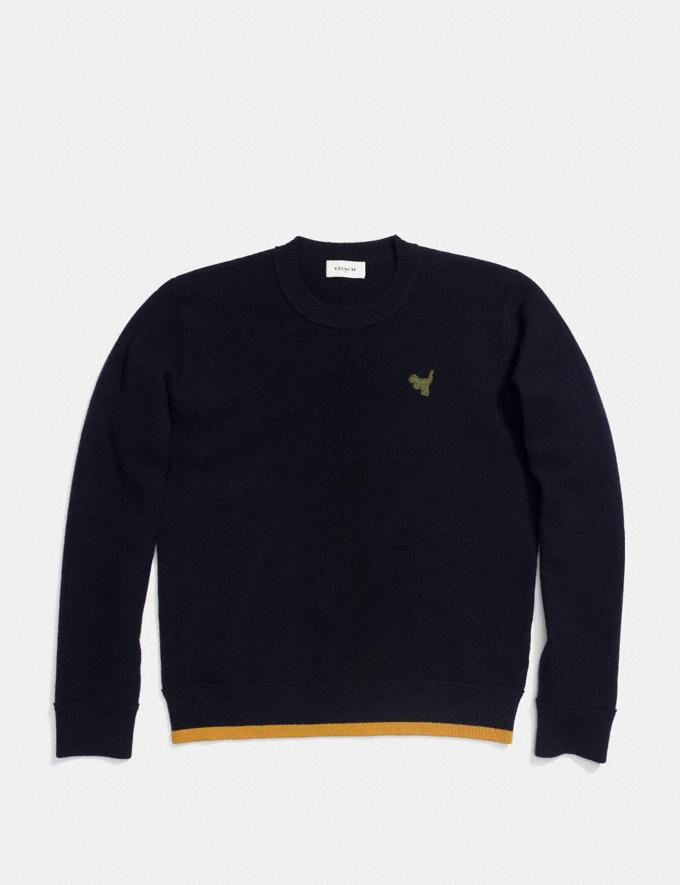 Coach Felted Rexy Patch Sweater Navy Men Ready-to-Wear Apparel Alternate View 1