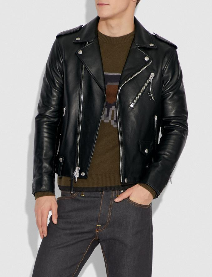 Coach Moto Jacket Black New Men's New Arrivals Ready-to-Wear Alternate View 1