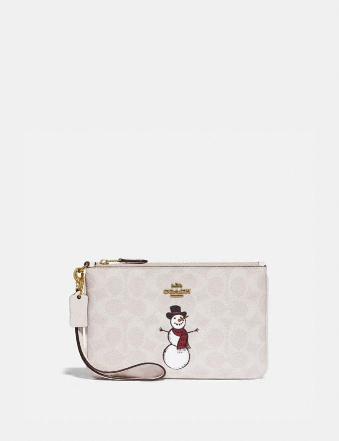 Coach Small Wristlet in Signature Canvas With Snowman Brass/Ivory Multi Women Accessories Tech & Work