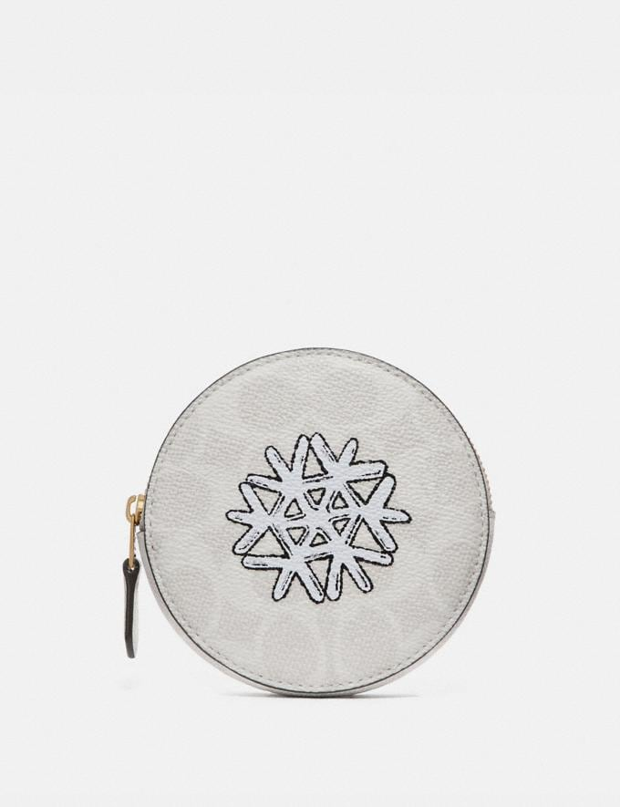 Coach Round Coin Case in Signature Canvas With Snowflake Motif B4/Ivory Chalk