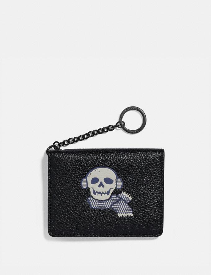 Coach Key Ring Card Case With Bonesy Gunmetal/Black