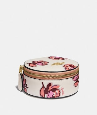 ROUND JEWELRY CASE WITH FLORAL PRINT