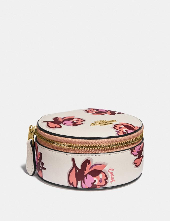 Coach Round Jewelry Case With Floral Print Gold/Chalk Floral Print New Women's New Arrivals Accessories