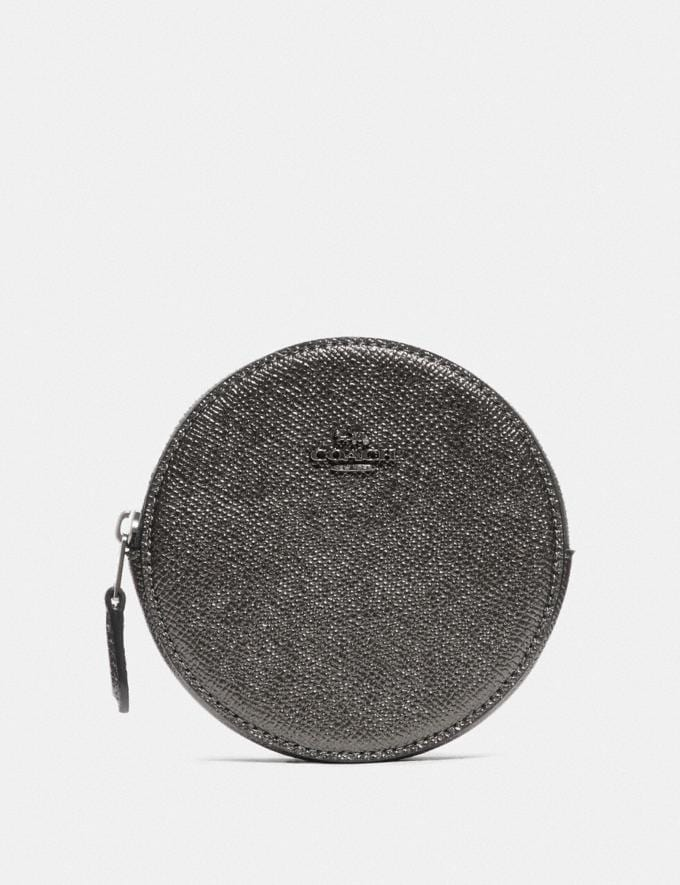 Coach Round Coin Case Gunmetal/Metallic Graphite Women Small Leather Goods Small Wallets