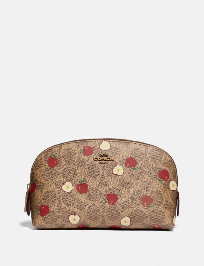 Coach Cosmetic Case 17 in Signature Canvas With Scattered Apple Print Brass/Tan Multi New Women's New Arrivals Accessories