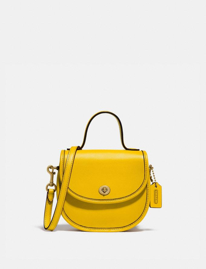Coach Mini Top Handle Saddle Bag B4/Lemon New Featured Coach Pride Collection