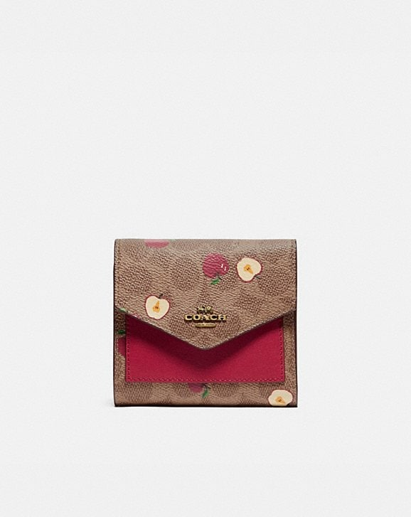 Coach SMALL WALLET IN SIGNATURE CANVAS WITH SCATTERED APPLE PRINT