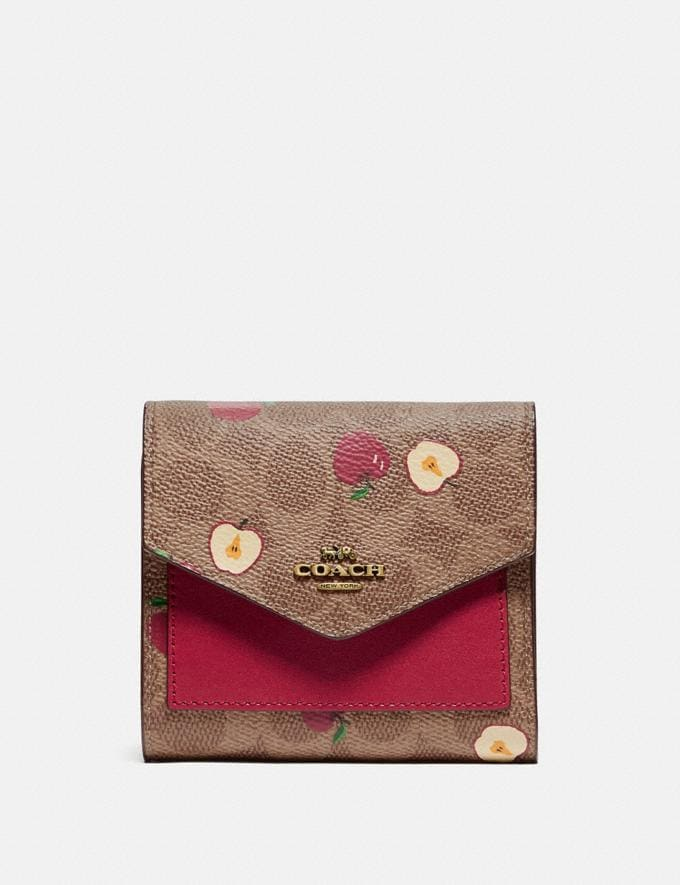 Coach Small Wallet in Signature Canvas With Scattered Apple Print Brass/Tan Multi Women Accessories Tech & Work