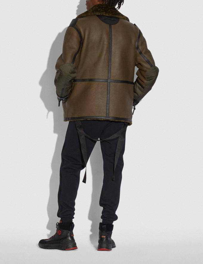 Coach Coach X Michael B. Jordan Shearling Aviator Jacket Ninjutsu Military Green  Alternate View 2