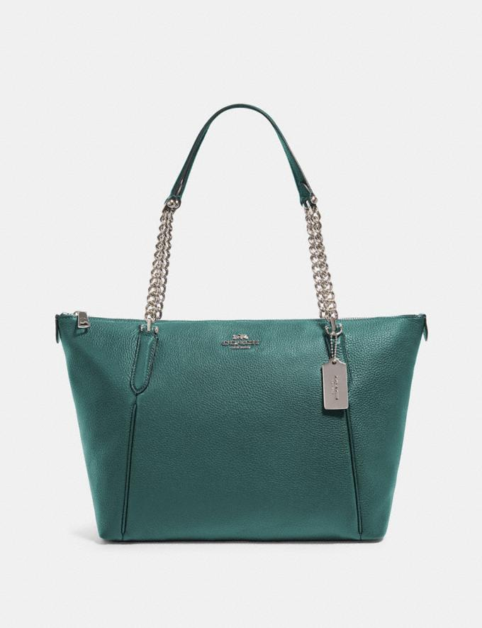 Coach Ava Chain Tote Sv/Dark Turquoise What's New