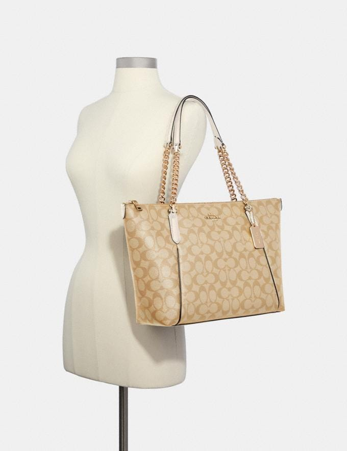 Coach Ava Chain Tote in Signature Canvas Im/Light Khaki Chalk What's New Alternate View 2