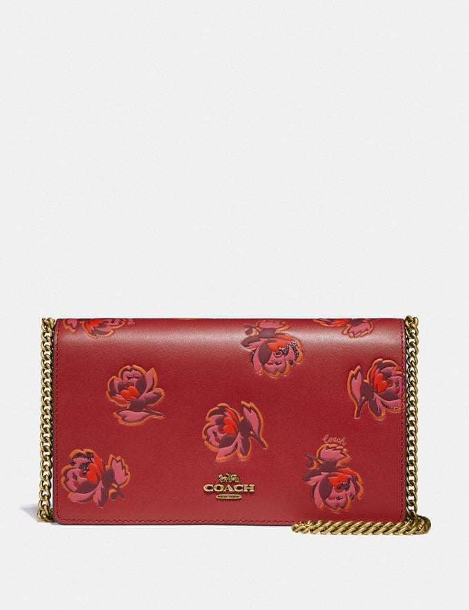 Coach Callie Foldover Chain Clutch With Floral Print Brass/Red Apple Floral Print Women Handbags Crossbody Bags