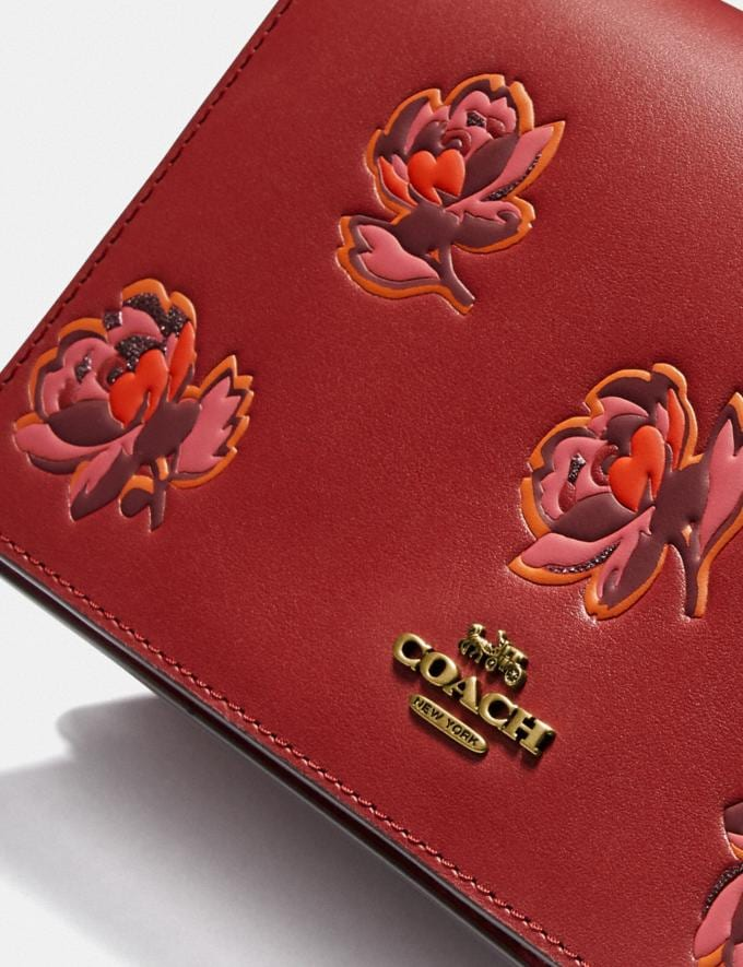 Coach Callie Foldover Chain Clutch With Floral Print Brass/Red Apple Floral Print  Alternate View 4