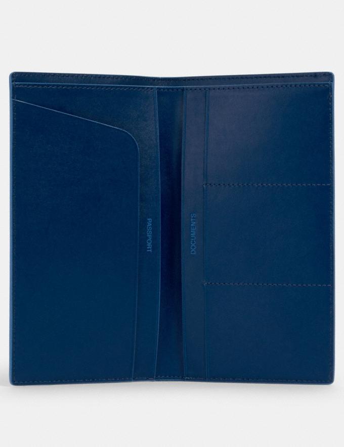 Coach Slim Passport Wallet in Signature Canvas Qb/Denim Bright Blue  Alternate View 1