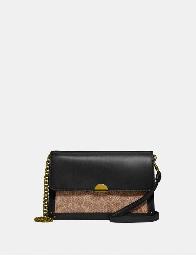 Coach Dreamer Convertible Crossbody in Colorblock Signature Canvas Brass/Tan Black Gifts For Her