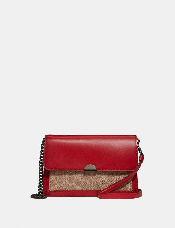 Coach Dreamer Convertible Crossbody in Colorblock Signature Canvas Pewter/Tan Red Apple Women Accessories