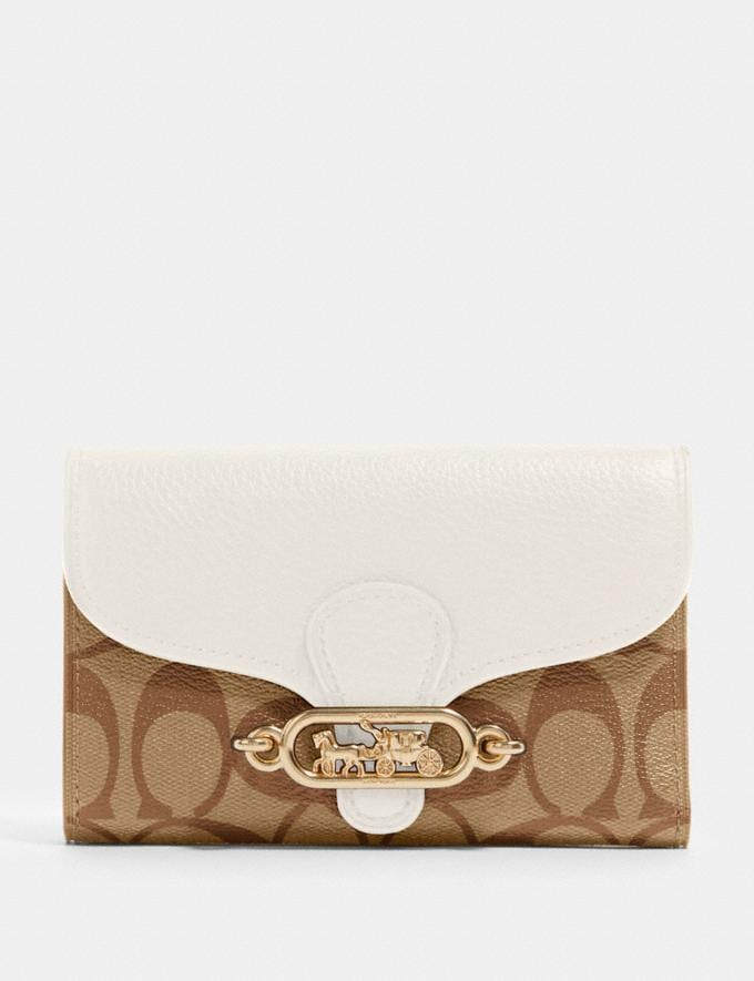 Coach Jade Medium Envelope Wallet in Signature Canvas Im/Khaki/Chalk Accessories Wallets