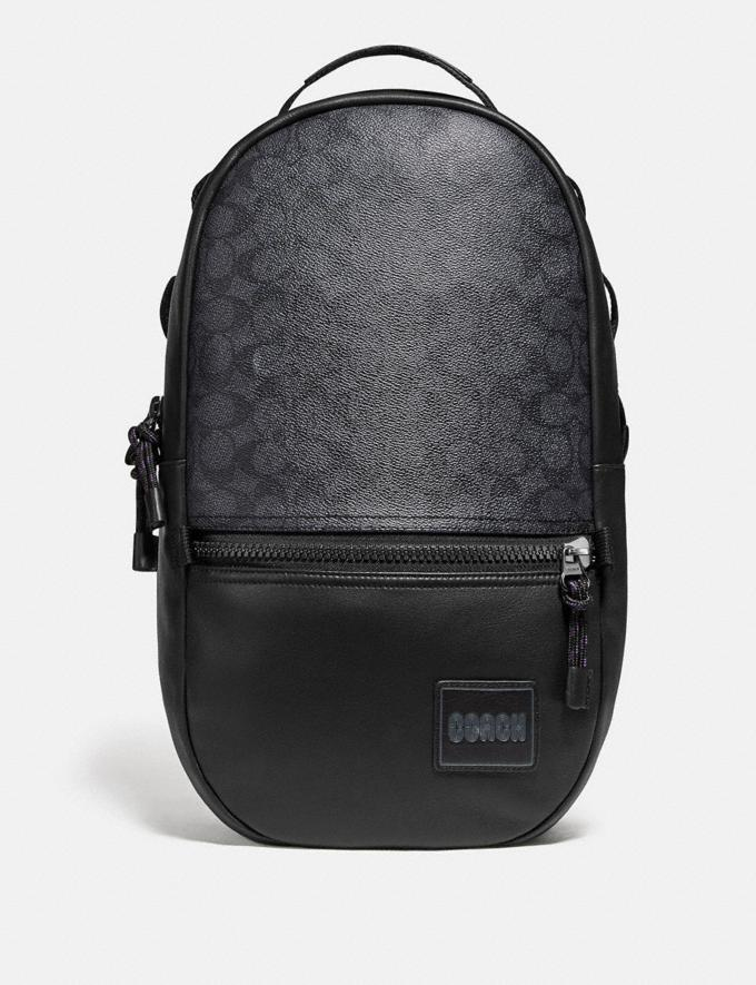 Coach Pacer Backpack in Signature Canvas With Coach Patch Black Copper/Charcoal New Men's New Arrivals Bags