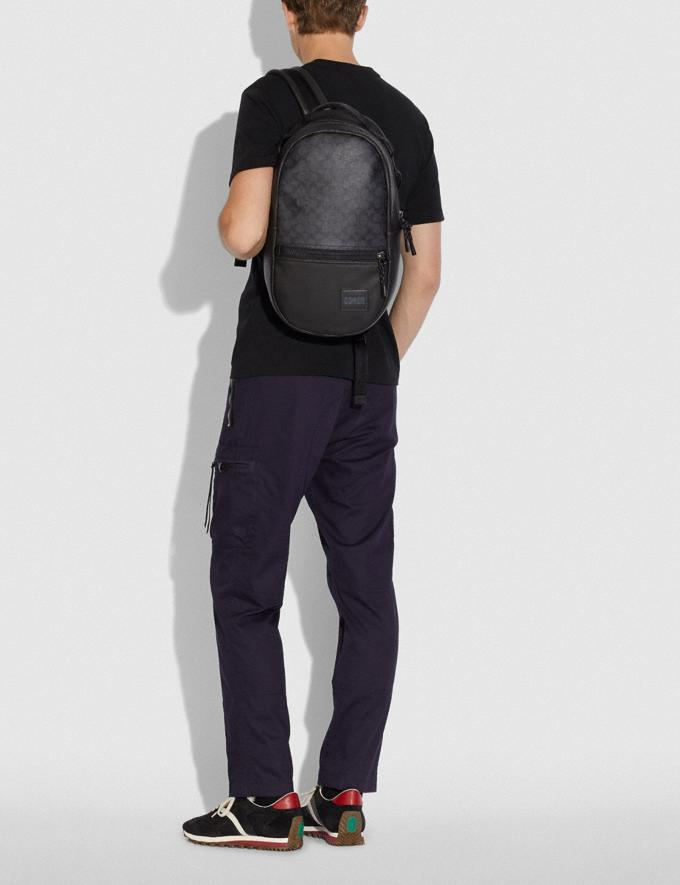 Coach Pacer Backpack in Signature Canvas With Coach Patch Ji/Charcoal Men Bags Backpacks Alternate View 3