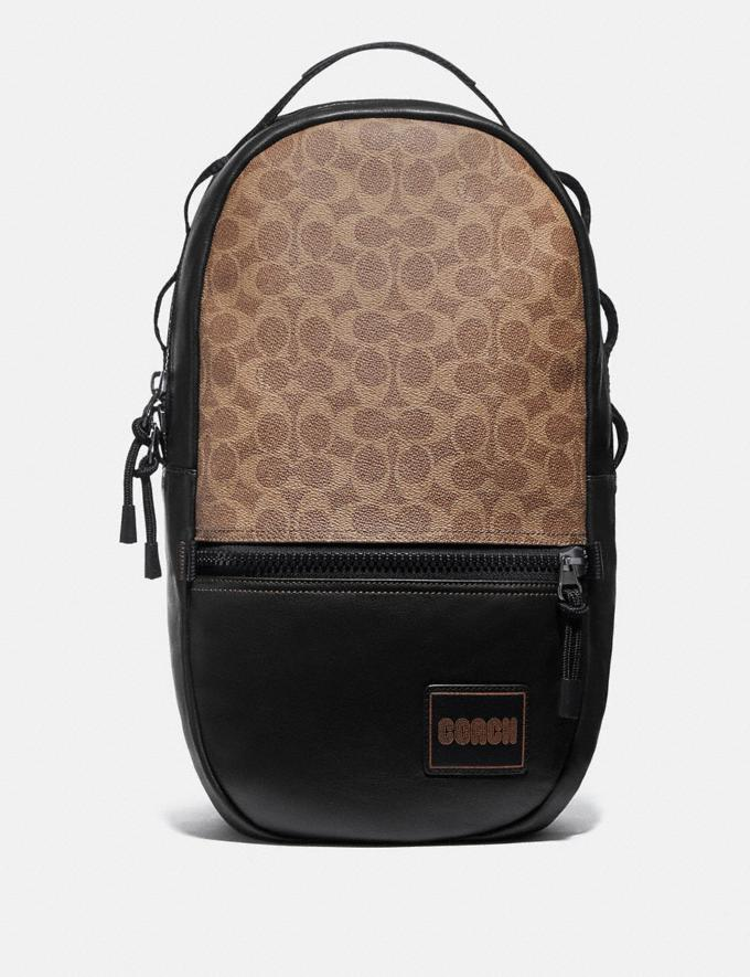 Coach Pacer Backpack in Signature Canvas With Coach Patch Black Copper/Khaki Men
