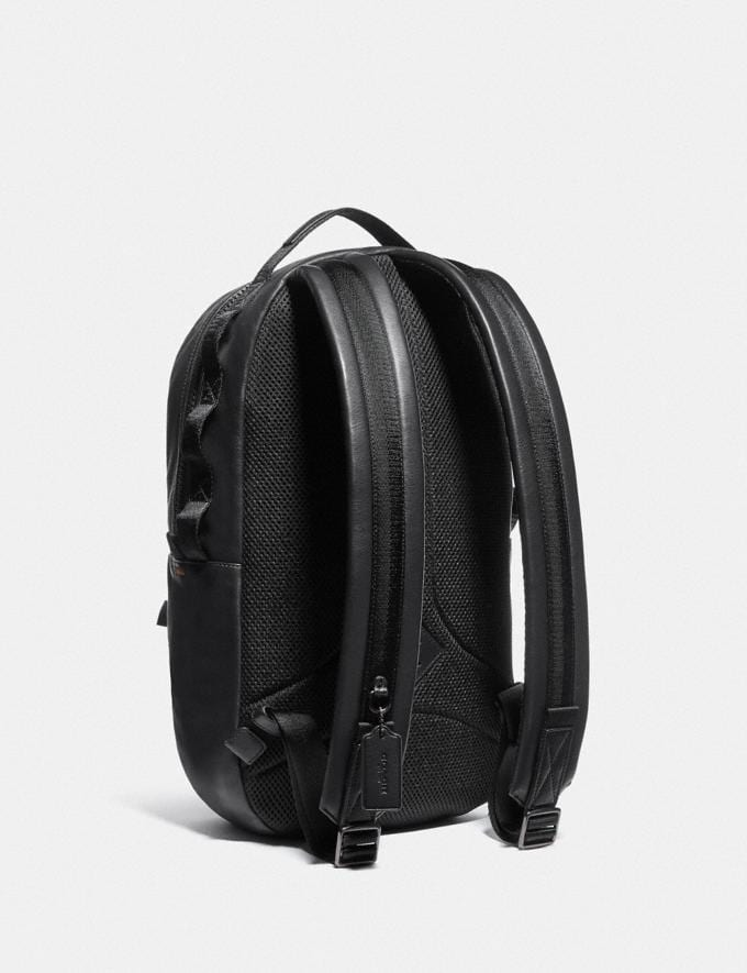 Coach Pacer Backpack in Signature Canvas With Coach Patch Black Copper/Khaki Men Edits Travel Alternate View 1