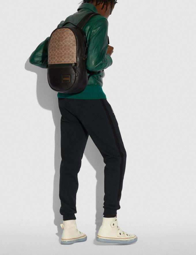 Coach Pacer Backpack in Signature Canvas With Coach Patch Black Copper/Khaki Men Alternate View 3