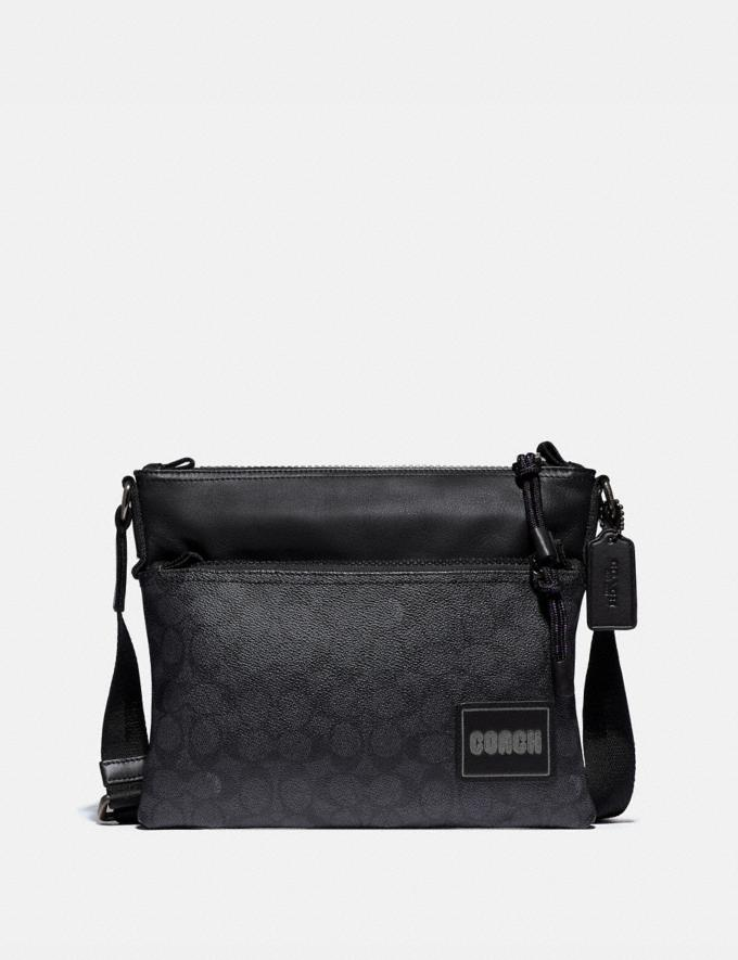 Coach Pacer Crossbody in Signature Canvas With Coach Patch Black Copper/Charcoal Men Bags Messenger Bags