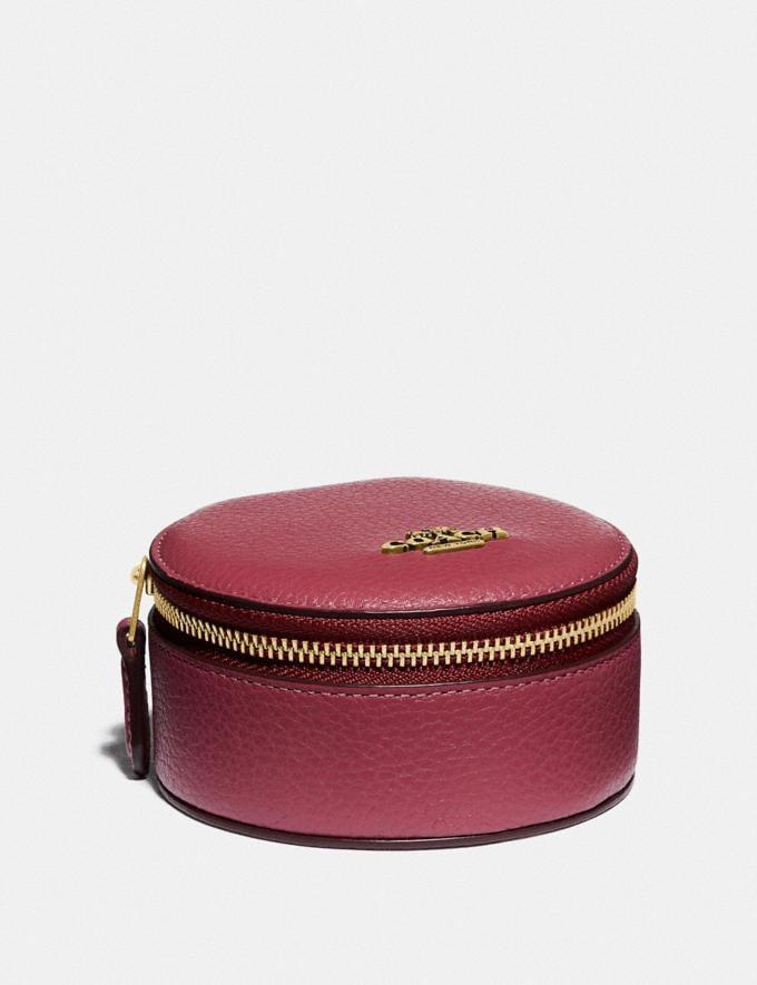 Coach Round Jewelery Case Brass/Dusty Pink New Women's New Arrivals Accessories