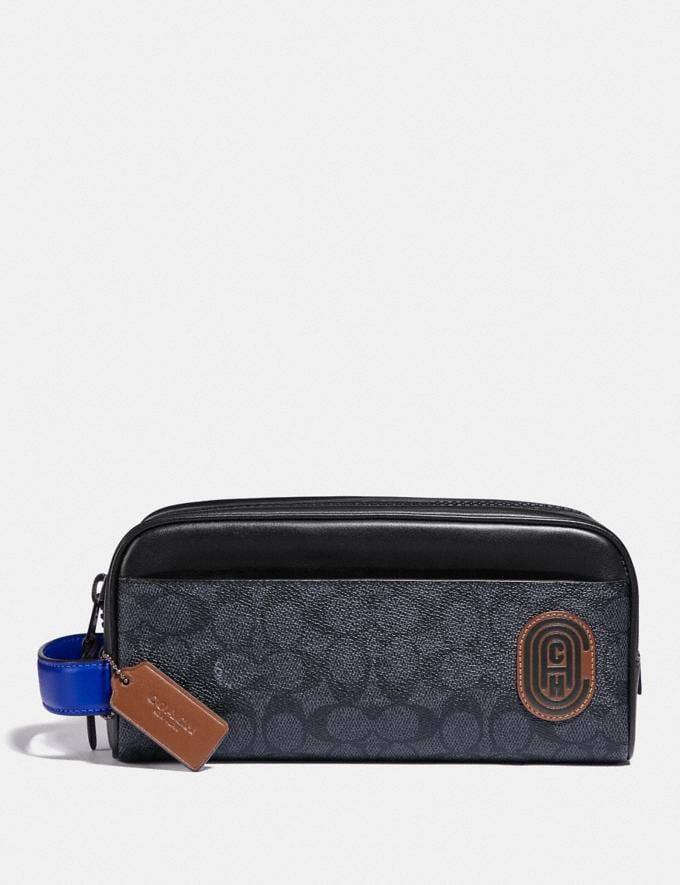 Coach Travel Kit in Signature Canvas With Coach Patch Charcoal/Sport Blue Men Edits Travel