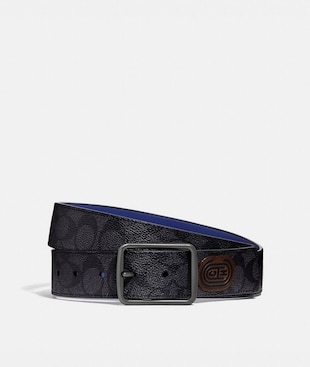 HARNESS BUCKLE CUT-TO-SIZE REVERSIBLE BELT WITH COACH PATCH, 38MM