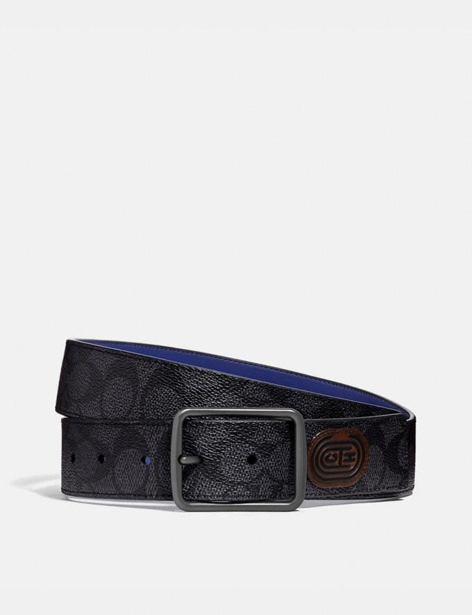 Coach Harness Buckle Cut-To-Size Reversible Belt With Coach Patch, 38mm Charcoal/Sport Blue