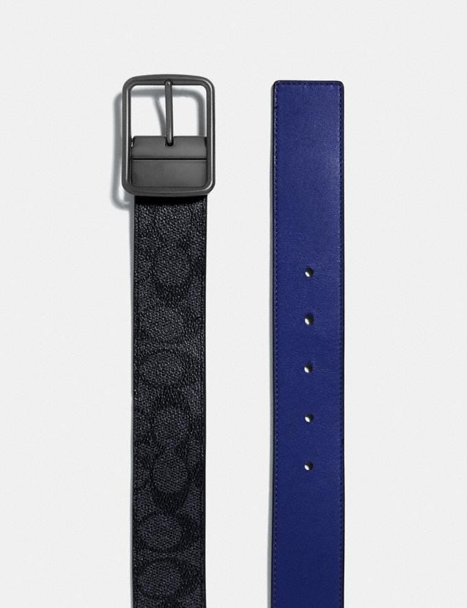 Coach Harness Buckle Cut-To-Size Reversible Belt With Coach Patch, 38mm Charcoal/Sport Blue  Alternate View 1