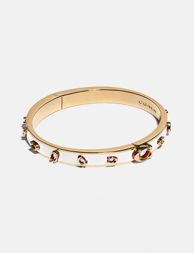 Coach Pegged Signature Bangle Gold/Chalk Women Accessories Jewellery