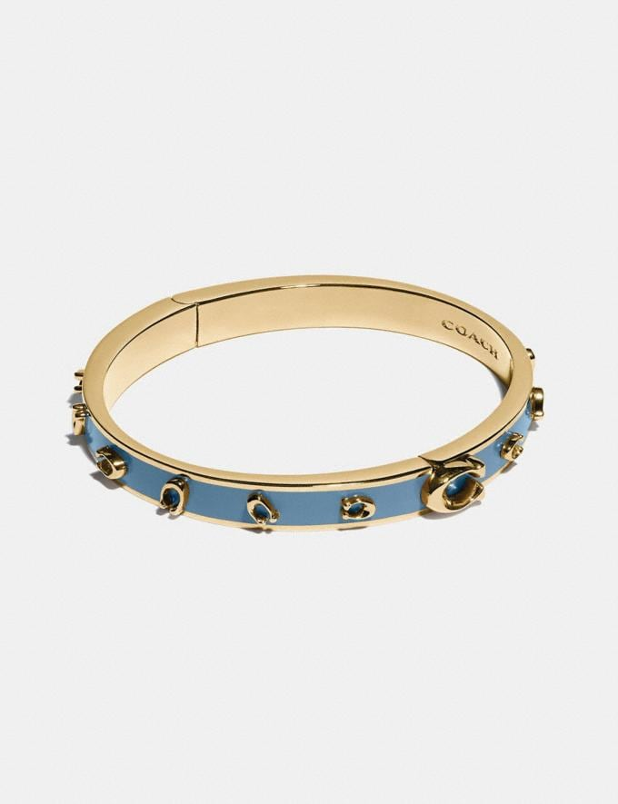 Coach Pegged Signature Bangle Gd/Lake Gifts For Her