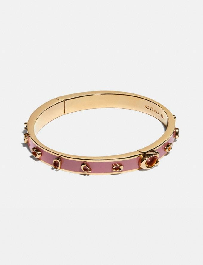 Coach Pegged Signature Bangle Gold/Rose Gifts For Her