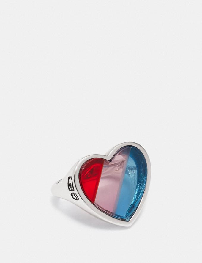 Coach Rainbow Heart Stone Ring Silver/Multi Women Accessories Jewelry & Watches