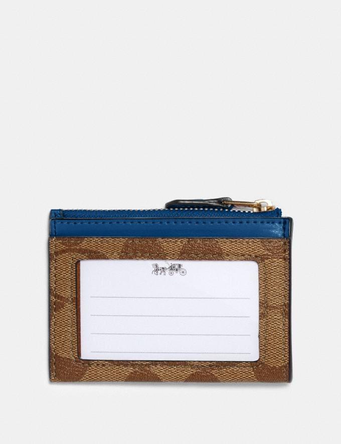 Coach Mini Skinny Id Case in Signature Canvas Im/Khaki Deep Atlantic Under $99 Under $99 Alternate View 1