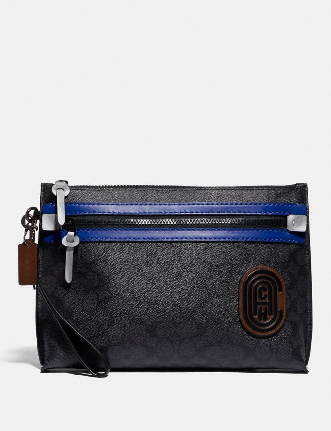 Coach Academy Pouch in Signature Canvas With Coach Patch Charcoal/Sport Blue Men Edits Travel