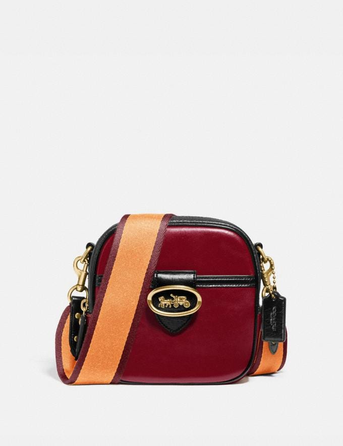 Coach Kat Camera Bag in Colorblock Brass/Deep Red Multi New Women's New Arrivals