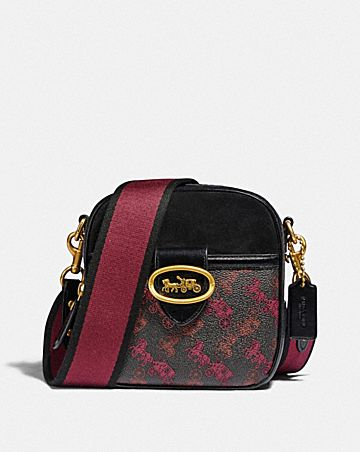 kat camera bag with horse and carriage print