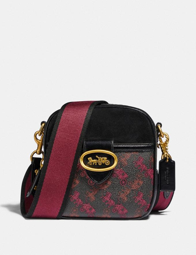 Coach Kat Camera Bag With Horse and Carriage Print B4/Black/Black Women Bags Crossbody Bags