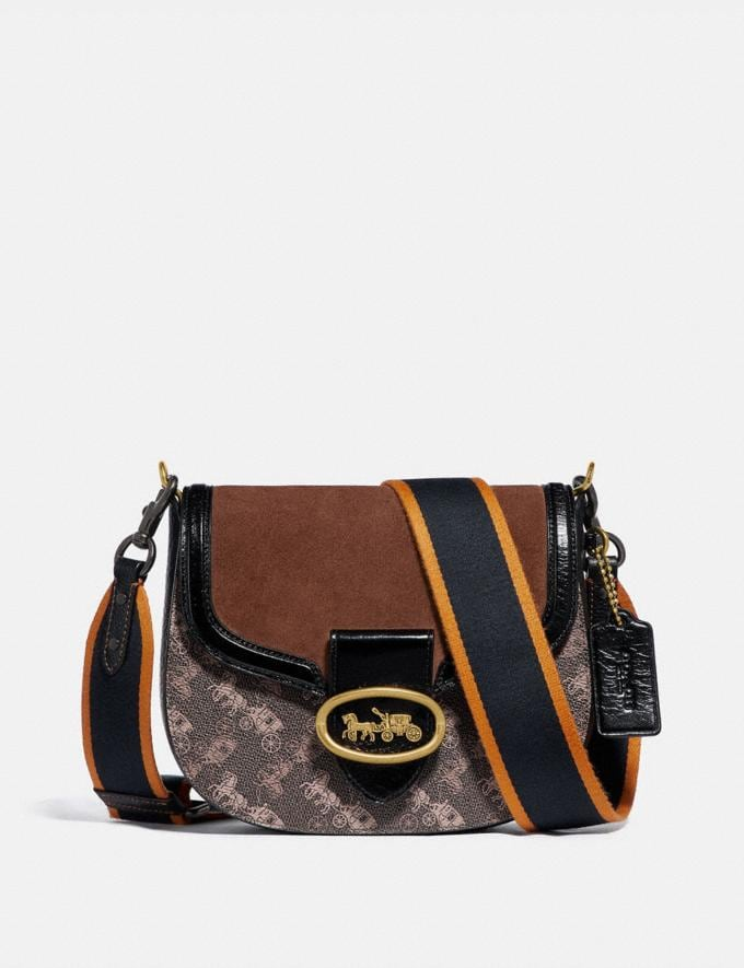 Coach Kat Saddle Bag 20 With Horse and Carriage Print Brass/Brown Black Women Handbags Crossbody Bags
