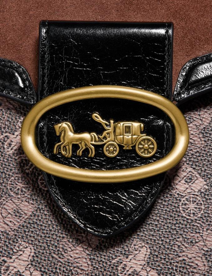 Coach Kat Saddle Bag 20 With Horse and Carriage Print Brass/Brown Black Wonder For All Alternate View 4