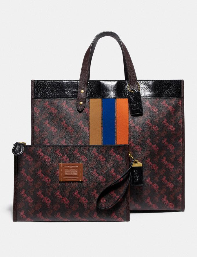 Coach Field Tote 40 With Horse and Carriage Print and Varsity Stripe Brass/Black Black Multi  Alternate View 4