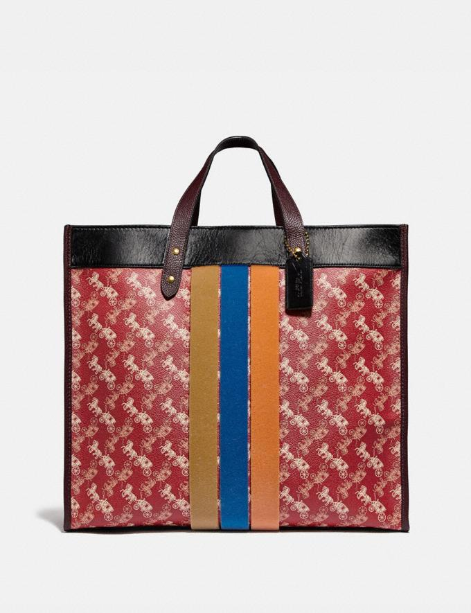 Coach Field Tote 40 With Horse and Carriage Print and Varsity Stripe Brass/Red Black Multi Wonder For All