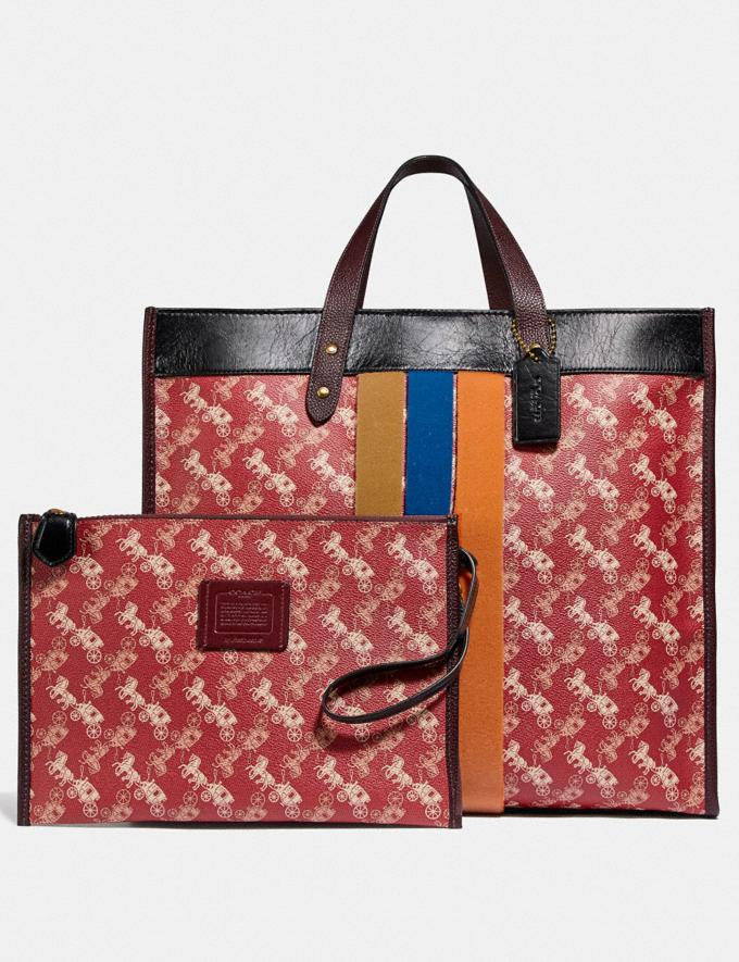 Coach Field Tote 40 With Horse and Carriage Print and Varsity Stripe Brass/Red Black Multi Wonder For All Alternate View 4