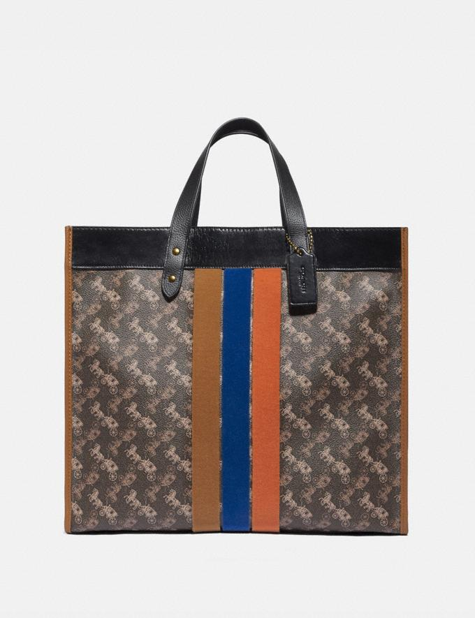 Coach Field Tote 40 With Horse and Carriage Print and Varsity Stripe Brass/Brown Black Multi New Women's New Arrivals Collection