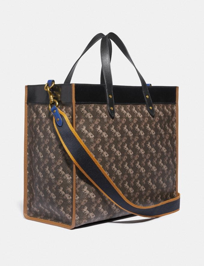 Coach Field Tote 40 With Horse and Carriage Print and Varsity Stripe Brass/Brown Black Multi New Women's New Arrivals Collection Alternate View 1