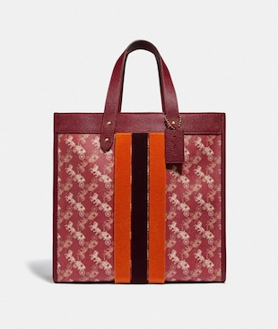 LUNAR NEW YEAR FIELD TOTE WITH HORSE AND CARRIAGE PRINT AND VARSITY STRIPE